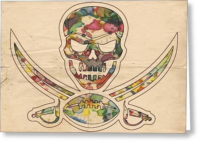 Tampa Bay Buccaneers Poster Vintage Greeting Card by Florian Rodarte