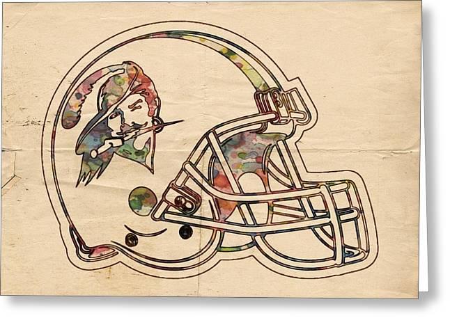 Tampa Bay Buccaneers Vintage Helmet Greeting Card by Florian Rodarte