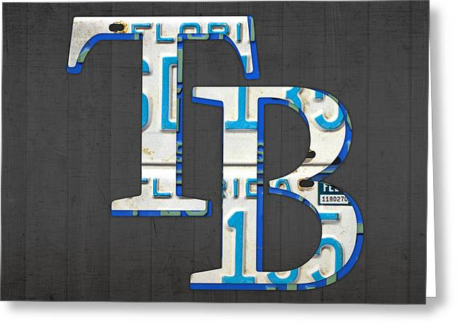 Tampa Bay Greeting Cards - Tampa Bay Devil Rays Baseball Team Vintage Logo Recycled Florida License Plate Art Greeting Card by Design Turnpike