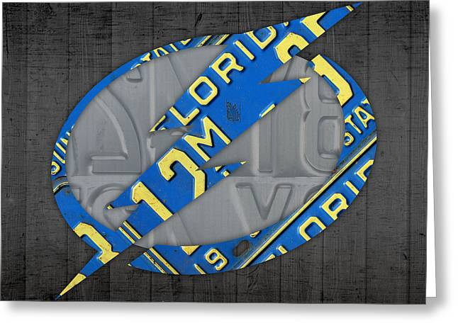 Tampa Bay Greeting Cards - Tampa Bay Lightning Retro Hockey Team Logo Recycled Florida License Plate Art Greeting Card by Design Turnpike