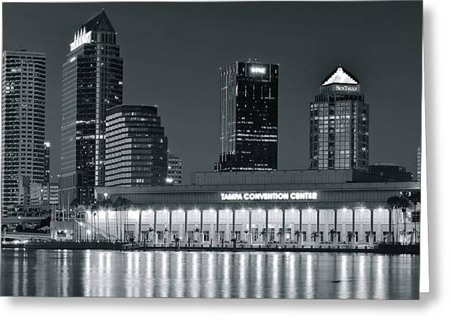 Buccaneer Greeting Cards - Tampa Black and White Lights Greeting Card by Frozen in Time Fine Art Photography
