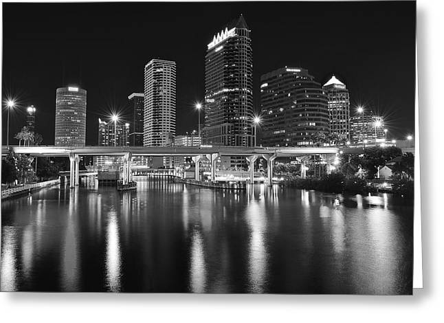 Gulf Team Greeting Cards - Tampa Black and White Night Greeting Card by Frozen in Time Fine Art Photography