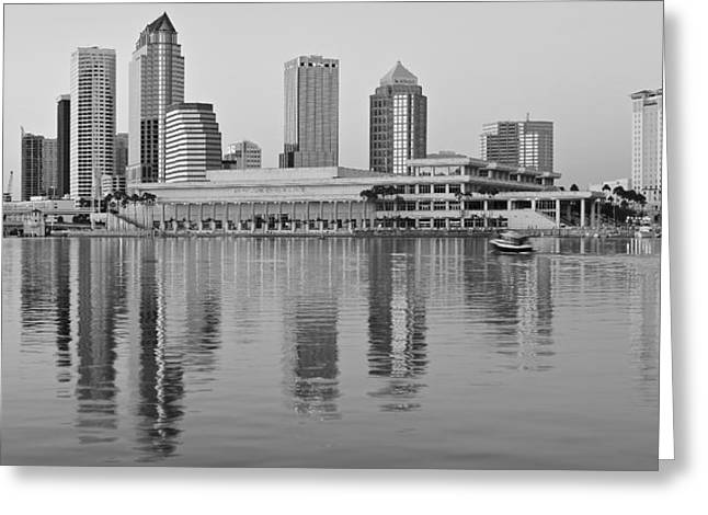 Buccaneer Greeting Cards - Tampa Black and White Panorama Greeting Card by Frozen in Time Fine Art Photography
