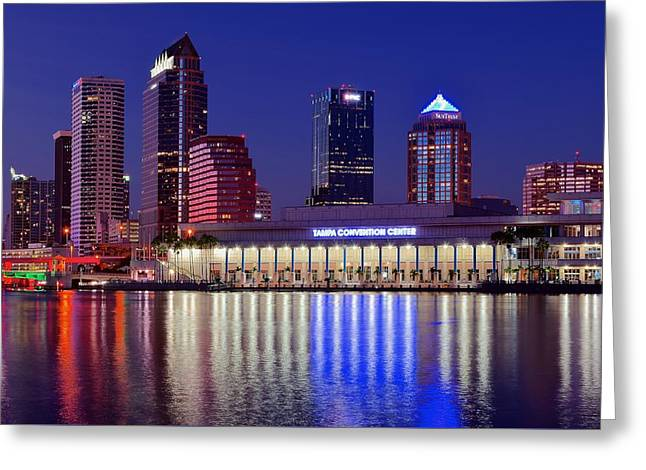Vacation Spots Greeting Cards - Tampa Convention Center Greeting Card by Frozen in Time Fine Art Photography