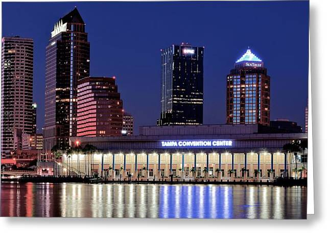 Epcot Center Greeting Cards - Tampa Convention Center Panoramic Greeting Card by Frozen in Time Fine Art Photography