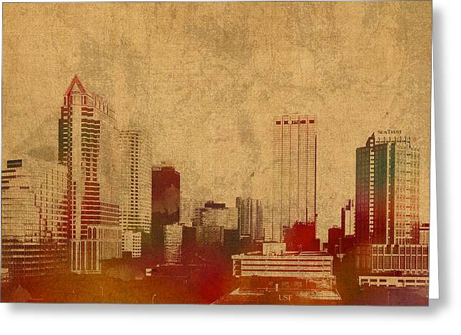 Tampa Greeting Cards - Tampa Florida City Skyline Watercolor on Worn Distressed Canvas Greeting Card by Design Turnpike