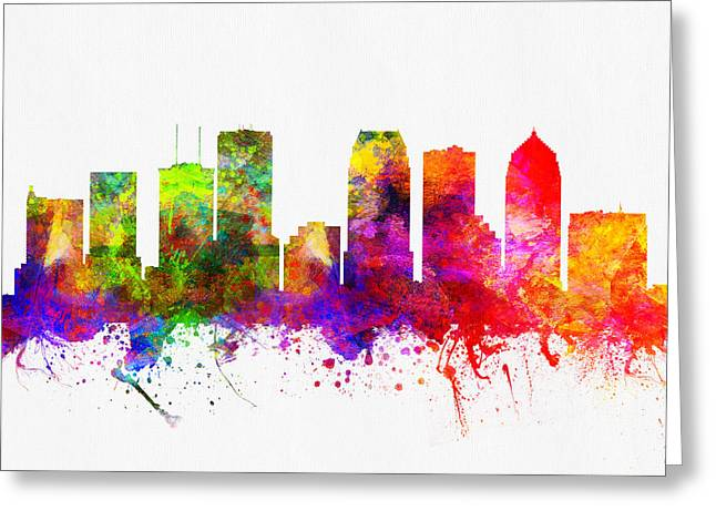 Tampa Skyline Greeting Cards - Tampa Florida Skyline Greeting Card by Aged Pixel