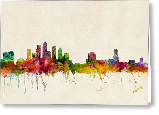 Tampa Greeting Cards - Tampa Florida Skyline Greeting Card by Michael Tompsett