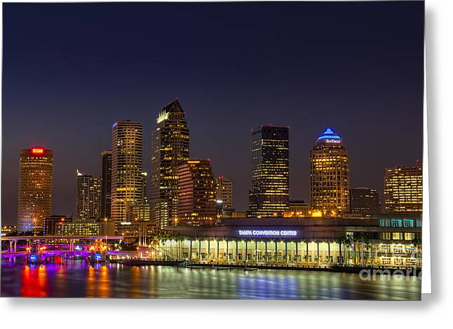 Convention Center Greeting Cards - Tampa Lights at Dusk Greeting Card by Marvin Spates