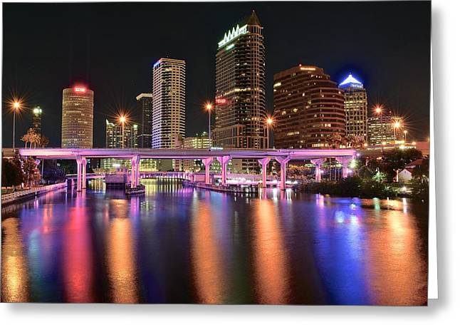 Buccaneer Greeting Cards - Tampa Lights Greeting Card by Frozen in Time Fine Art Photography
