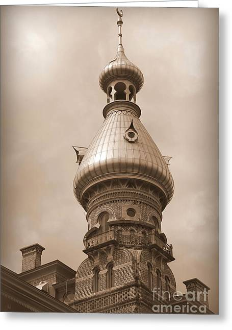 Carol Groenen Greeting Cards - Tampa Minaret - Sepia Greeting Card by Carol Groenen