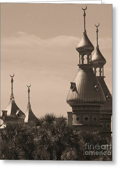 Old Postcards Greeting Cards - Tampa Minarets  Greeting Card by Carol Groenen