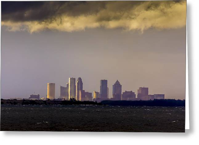 Gray Sky Greeting Cards - Tampa on the Horizon Greeting Card by Marvin Spates