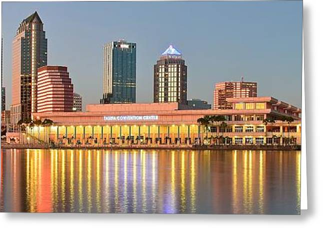 Jacksonville Greeting Cards - Tampa Panoramic View Greeting Card by Frozen in Time Fine Art Photography