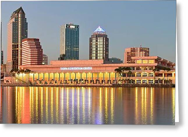 Recently Sold -  - Jacksonville Greeting Cards - Tampa Panoramic View Greeting Card by Frozen in Time Fine Art Photography