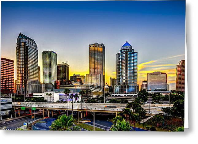 Tampa Greeting Cards - Tampa Skyline Greeting Card by Marvin Spates