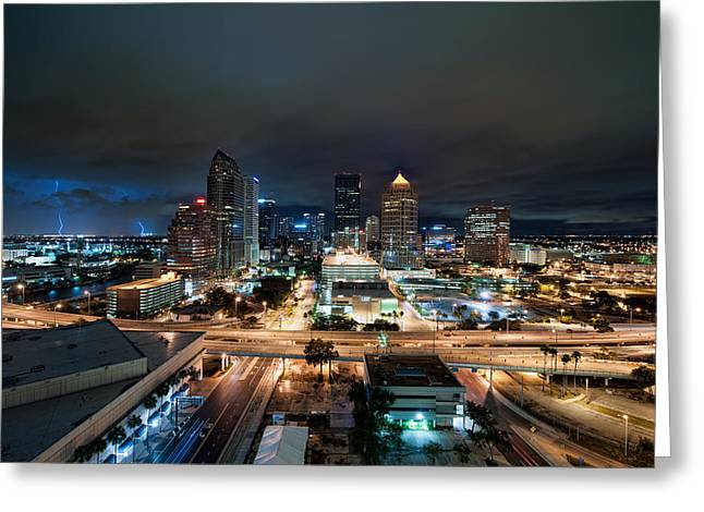 Mark Whitt Photography Greeting Cards - Tampa Skyline with Lightning Greeting Card by Mark Whitt