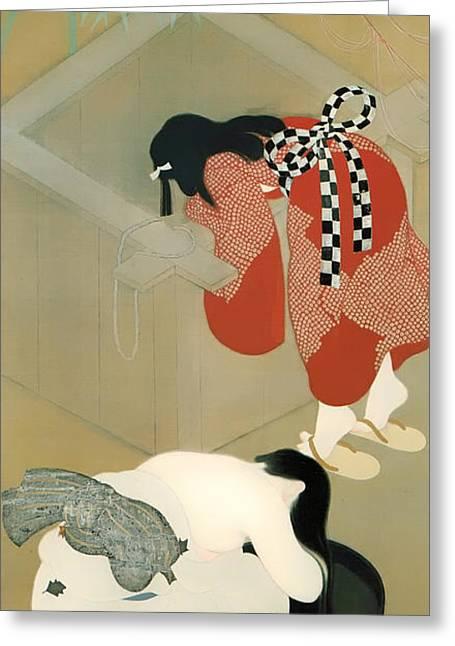 Hair-washing Paintings Greeting Cards - Tanabata Festival Greeting Card by Betchaku Tsukino