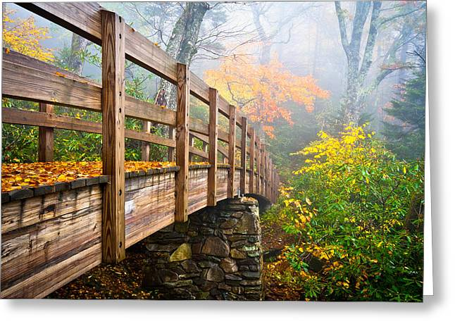 Leaf Change Greeting Cards - Tanawha Trail Foot Bridge - Rough Ridge Autumn Foliage NC Greeting Card by Dave Allen
