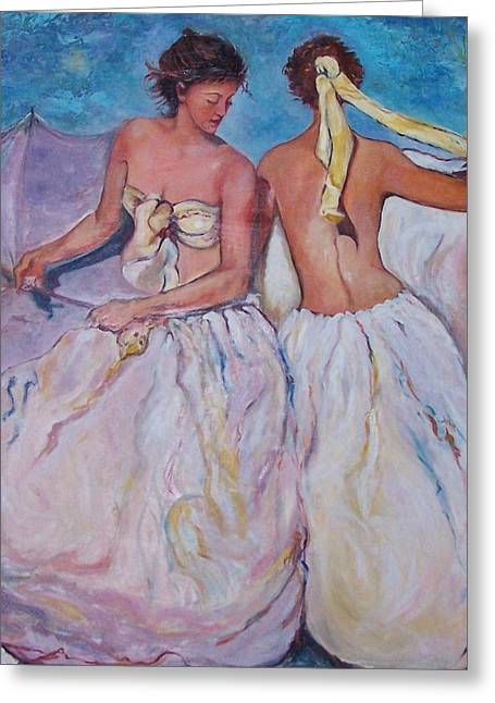 Satin Skirt Greeting Cards - Tance Greeting Card by Bobbe Froelich