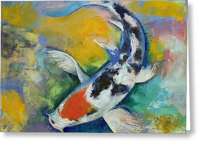Japanese Koi Greeting Cards - Tancho Sanke Koi Greeting Card by Michael Creese
