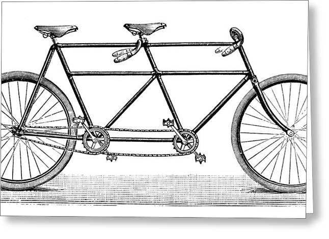 Tandem Bicycle Greeting Cards - TANDEM BICYCLE, c1900 Greeting Card by Granger