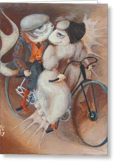Bicycling Greeting Cards - Tandem Greeting Card by Marina Gnetetsky