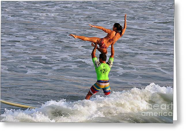 Surfing Contest Greeting Cards - Tandem surfing Greeting Card by Davids Digits