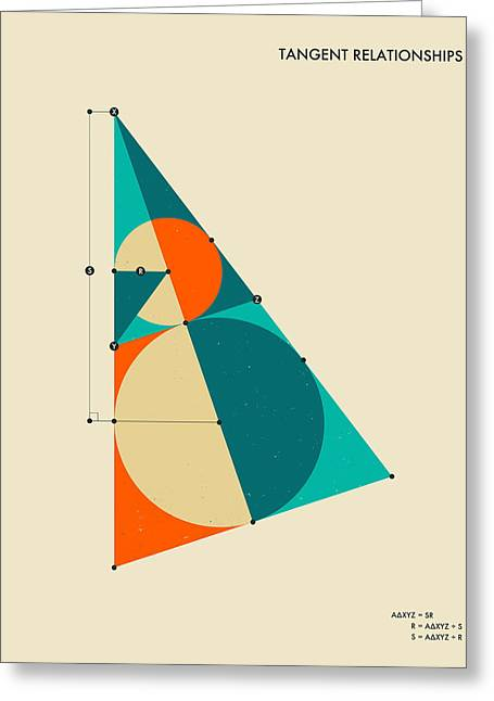 Mathematical Greeting Cards - Tangent Relationships Greeting Card by Jazzberry Blue