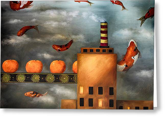 Tangerine Greeting Cards - Tangerine Dream edit 2 Greeting Card by Leah Saulnier The Painting Maniac