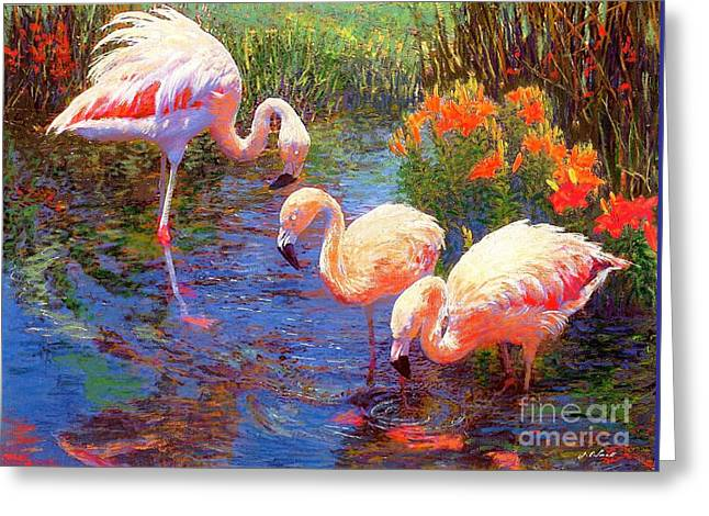 Flamingos, Tangerine Dream Greeting Card by Jane Small