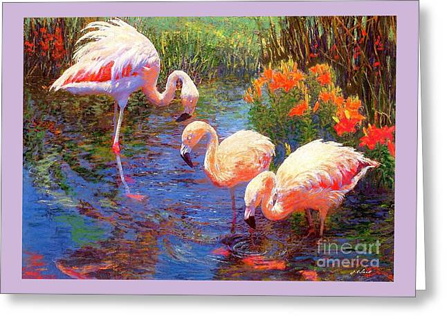 Flamingos, Tangerine Dream Greeting Card by Jane Small