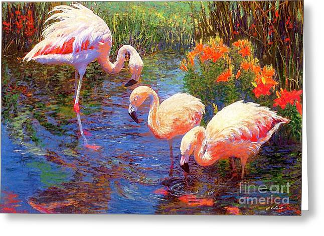 Greater Flamingos Greeting Cards - Tangerine Dream Greeting Card by Jane Small