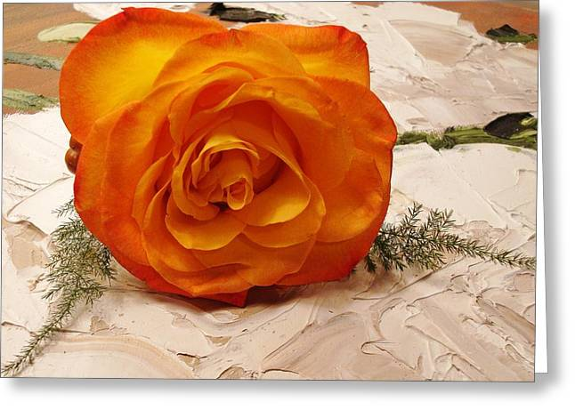 Rose Petals Greeting Cards - Tangerine Greeting Card by Kathy Bucari