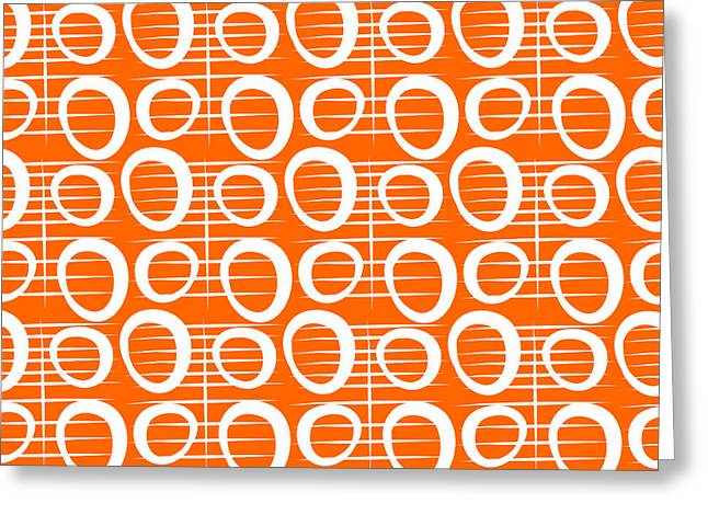Lines Mixed Media Greeting Cards - Tangerine Loop Greeting Card by Linda Woods