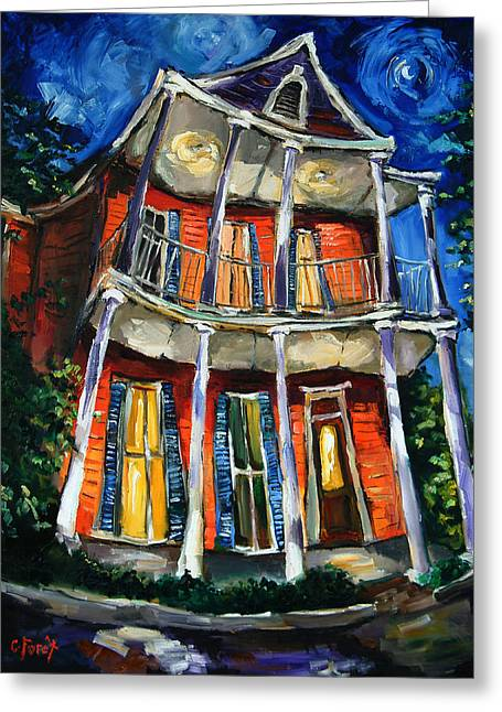 Gable Greeting Cards - Tangerine Moon Greeting Card by Carole Foret