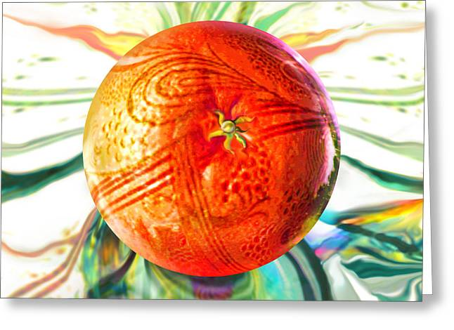 Orb Greeting Cards - Tangerine Orb Nouveau Greeting Card by Robin Moline