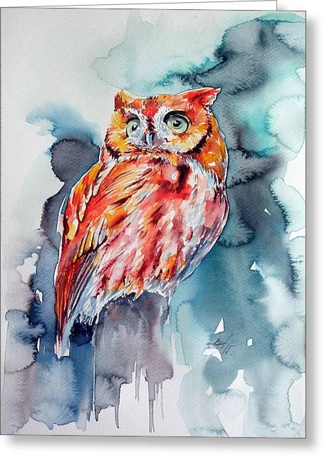 Tangerines Greeting Cards - Tangerine owl  Greeting Card by Kovacs Anna Brigitta