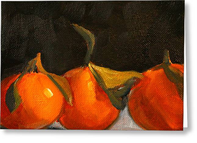 Small Square Greeting Cards - Tangerine Party Greeting Card by Nancy Merkle