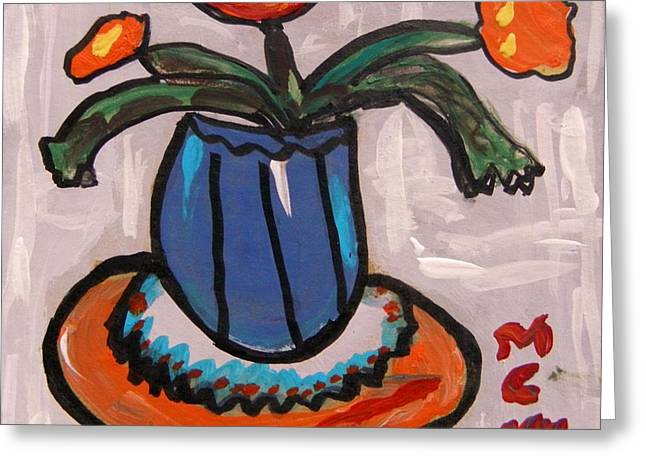 Tangerine Table Greeting Card by Mary Carol Williams
