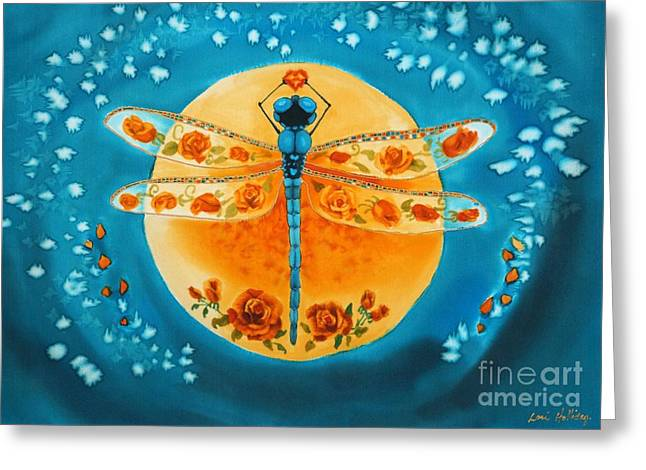 Dragonflies Pastels Greeting Cards - Tangerine Tango Greeting Card by Lori Holliday