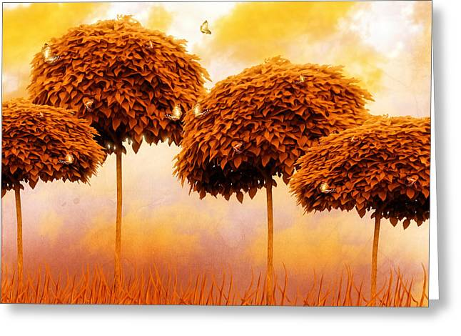 Tangerine Greeting Cards - Tangerine Trees and Marmalade Skies Greeting Card by Mo T