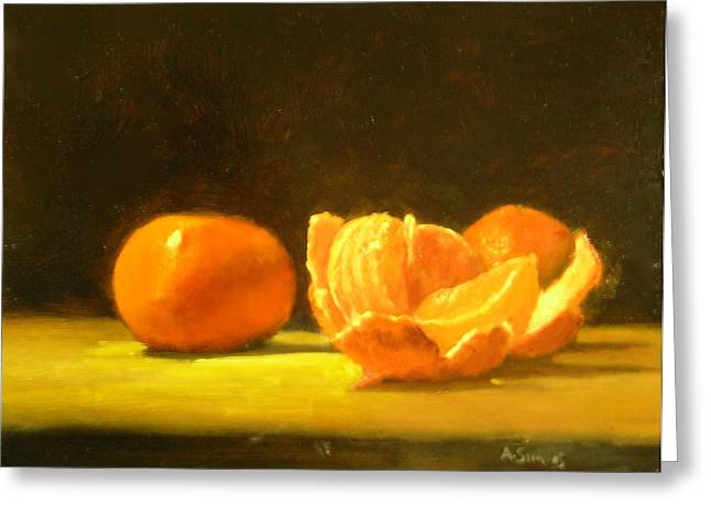 Tangerine Greeting Cards - Tangerines Greeting Card by Ann Simons
