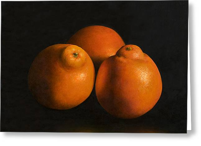 Tangerines Greeting Card by Anthony Enyedy