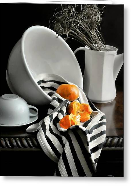 Recently Sold -  - White Cloth Greeting Cards - Tangerines Greeting Card by Diana Angstadt