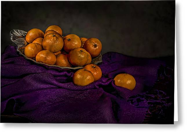 Tangerine Greeting Cards - Tangerines in a Shell Platter Greeting Card by Leah McDaniel