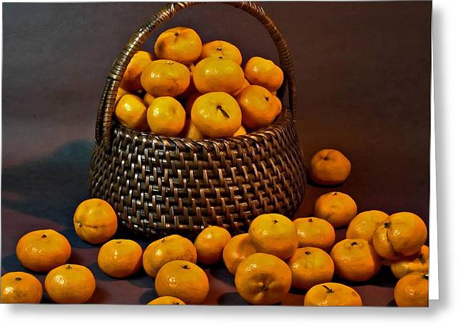 Tangerine Greeting Cards - Tangerines in a Woven Basket Greeting Card by Harold Bonacquist