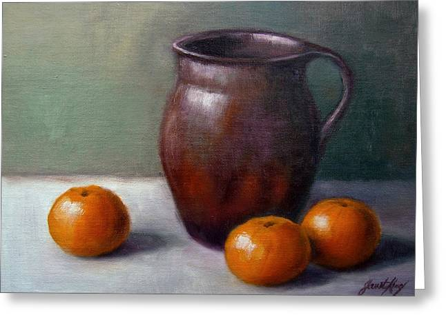 Still Life With Old Pottery Pitcher And Tangerines Greeting Cards - Tangerines Greeting Card by Janet King