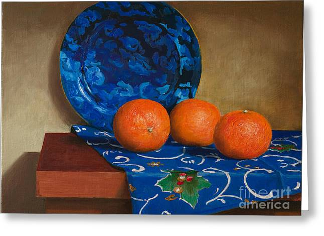 Tangerines Greeting Card by Mikhail Kovalev