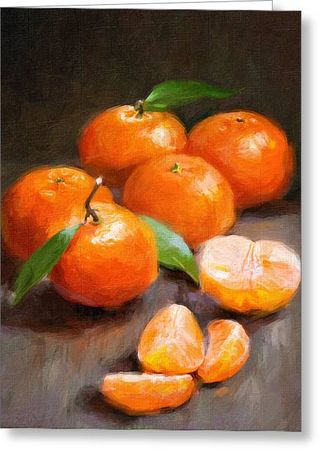 Cooks Illustrated Paintings Greeting Cards - Tangerines Greeting Card by Robert Papp